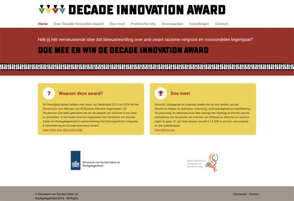 Screenshot van de website van Decade Innovation Award