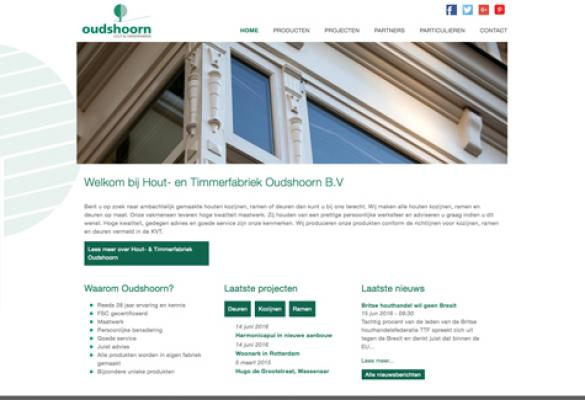Screenshot van de website Timmerfabriek Oudshoorn