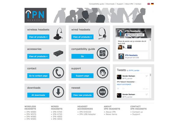 Screenshot van de website IPN Headsets