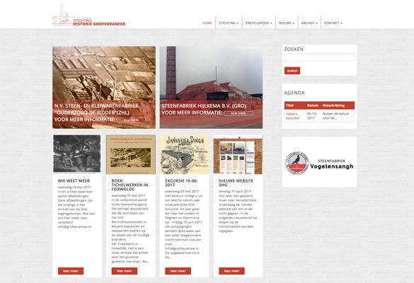 Screenshot website Stichting Historie Grofkeramiek