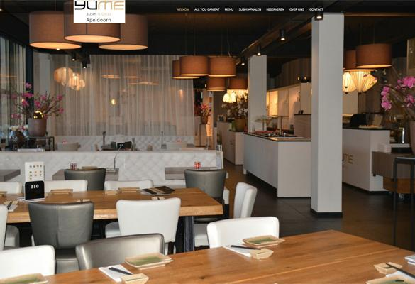 Screenshot website van YUME SUSHI